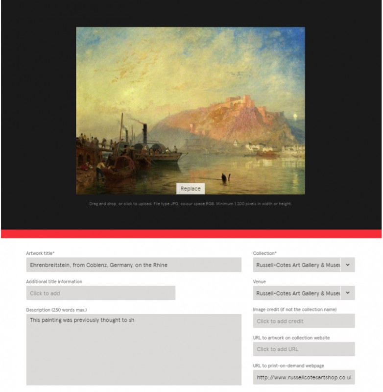 Editing an artwork using the Collections Portal