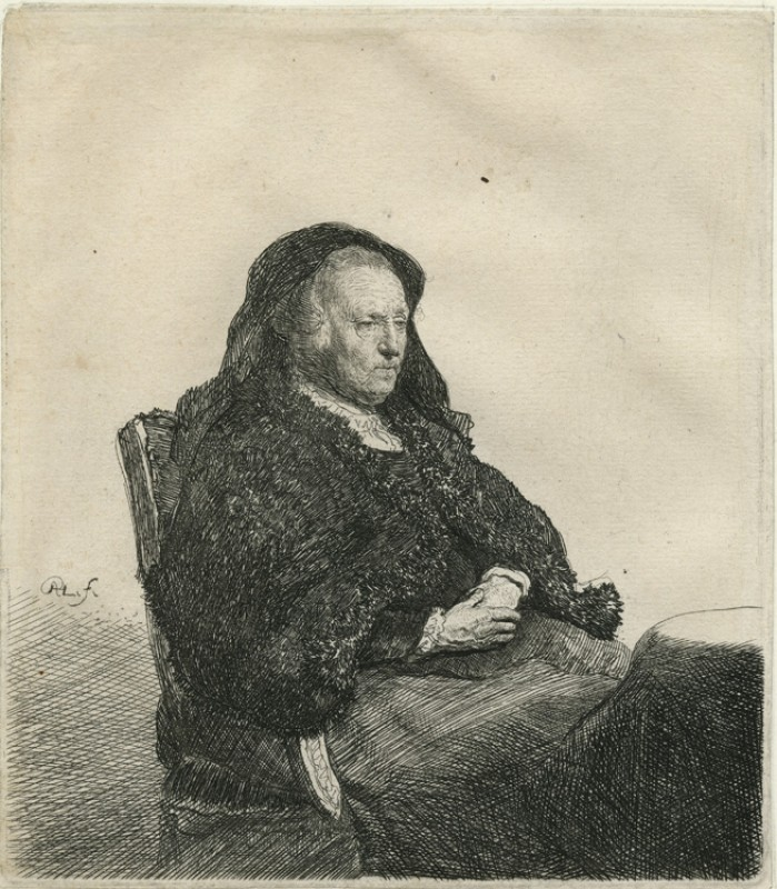 The Artist's Mother Seated at a Table, Looking Right, Three-Quarter Length