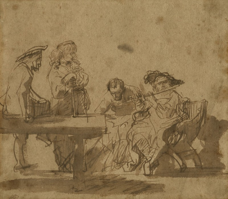 Group of Musicians Listening to a Flute Player