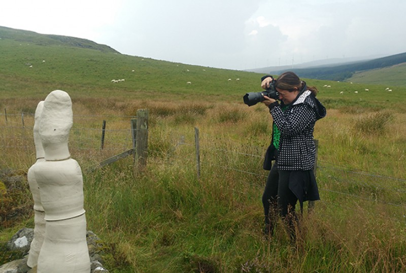 Julie Howden photographs sculptures on the Corbenic Poetry Path, Dunkeld