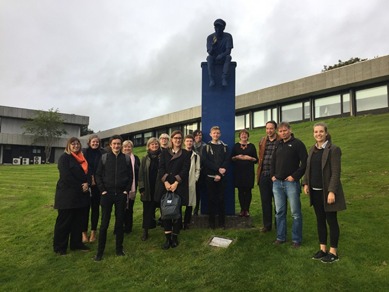 Sculpture project staff at a team meeting, University of Stirling, October 2018