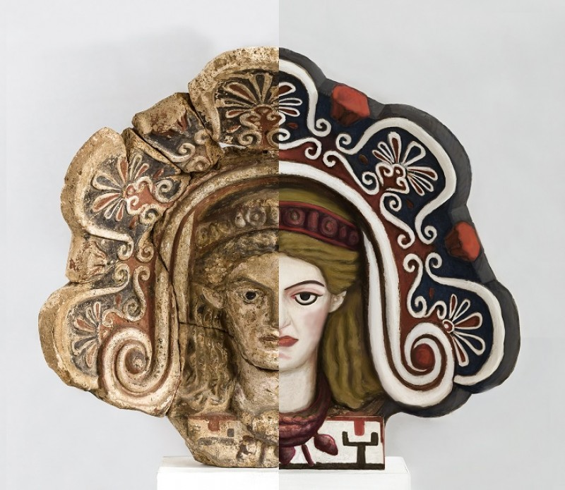 The photo of an antefix (half and half)