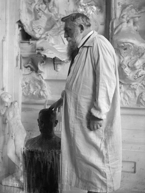 Portrait photograph of French sculptor Auguste Rodin (1840–1917) at Meudon
