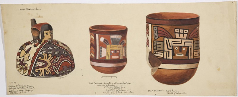 Watercolour of two pots in the Museo Nacional in Lima, Peru, made by Adela Breton on her tour of South America in 1910