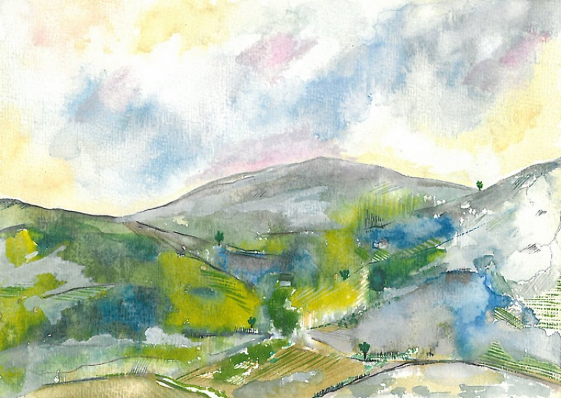 Around Lake Windermere, 1977, watercolour on paper by Lancelot Ribeiro