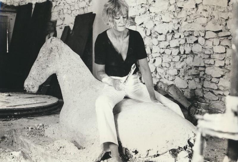 Elisabeth Frink with 'Lying Down Horse', France, 1969