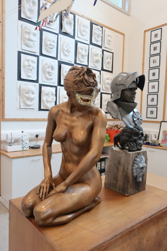 Sculptures by Andrew Sinclair at Great Torrington School in Devon, part of Masterpieces in Schools