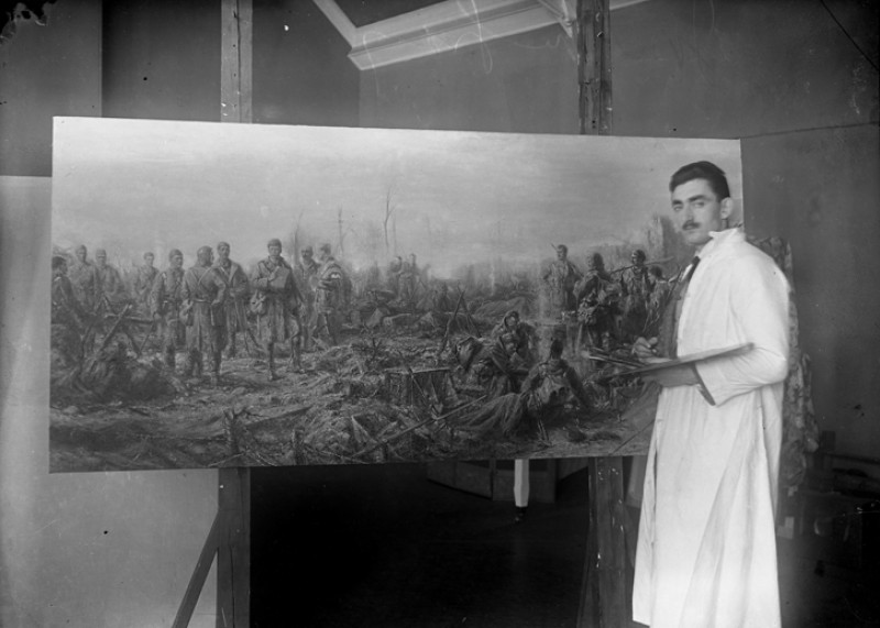 Joseph Gray working on 'After Neuve Chapelle'