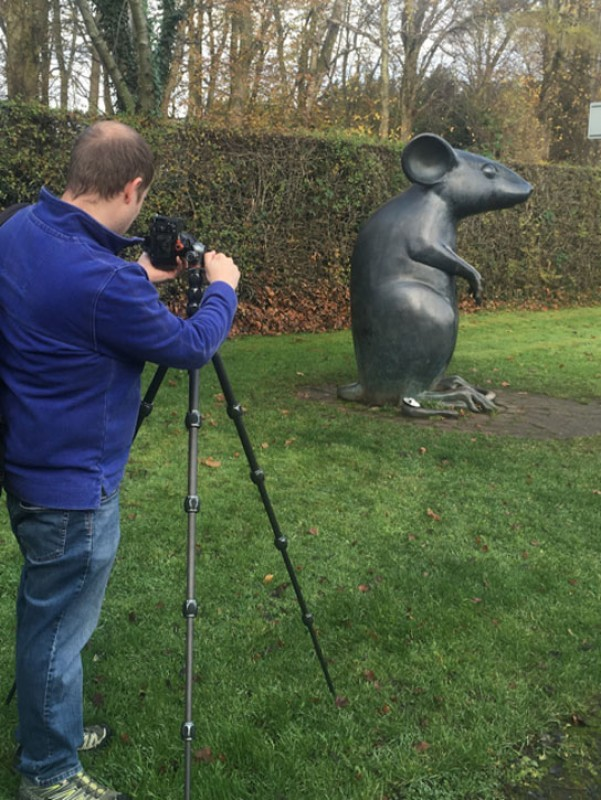 Matt Ward photographing Kenny Hunter's 'Monument to a Mouse'