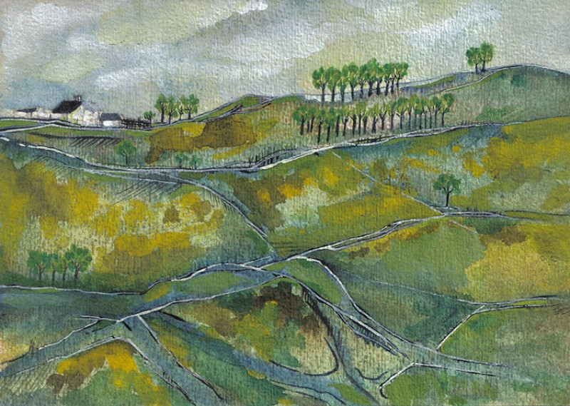 Near Cumbria, 1976, watercolour on paper by Lancelot Ribeiro