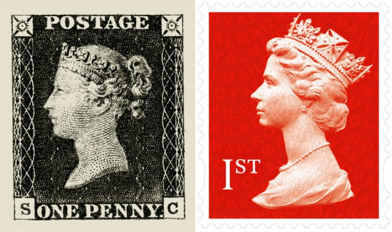 The Penny Black stamp (left) and UK 1st Class stamp (right)
