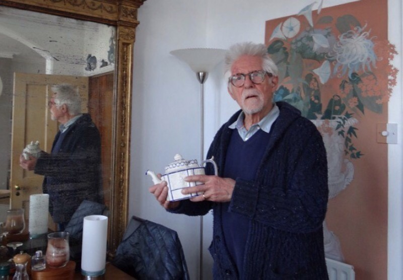 Artist Robert Brown and his teapot