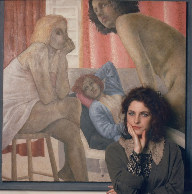 Sally Moore, c.1988, with her painting 'Conversation 2'