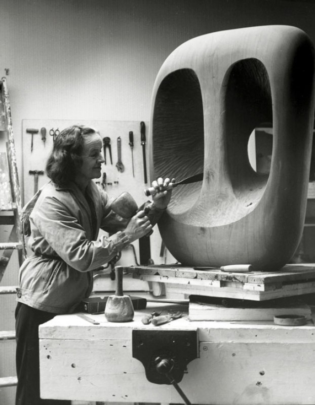 Barbara Hepworth at work in the Palais de Danse studio, St Ives, Cornwall