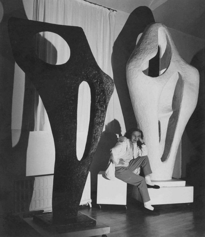 Barbara Hepworth with the plaster of 'Figure for Landscape' and bronze cast of 'Figure (Archaean)'