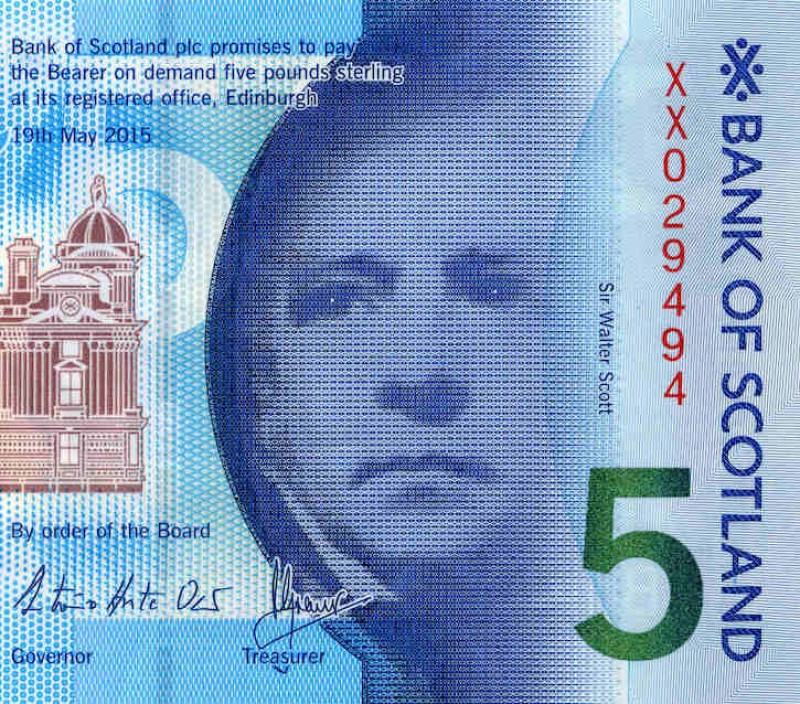 Sir Walter Scott on the Bank of Scotland £5 note