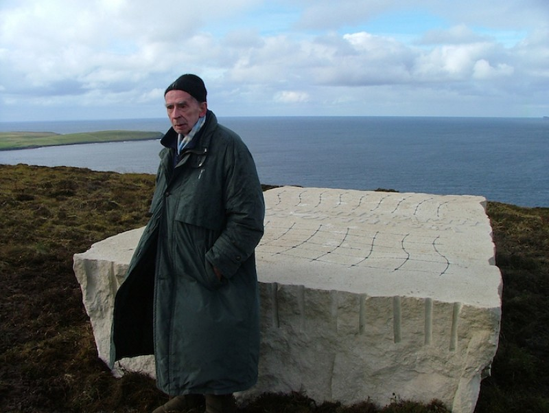 Ian Hamilton Finlay at the installation of 'Gods of the Earth/Gods of the Sea' on Rousay in 2005