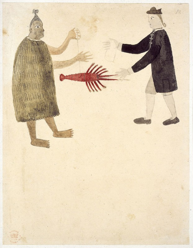 A Māori bartering a crayfish with Joseph Banks