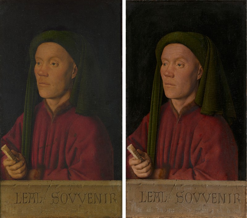 Portrait of a Man ('Léal Souvenir'), before and after restoration