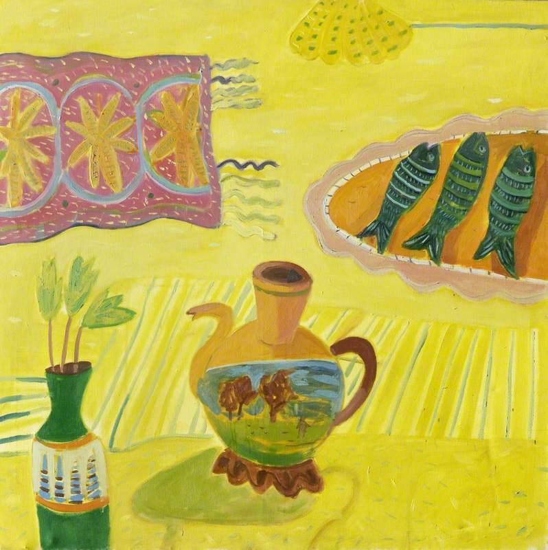 Yellow Still Life with Three Fish and a Jug