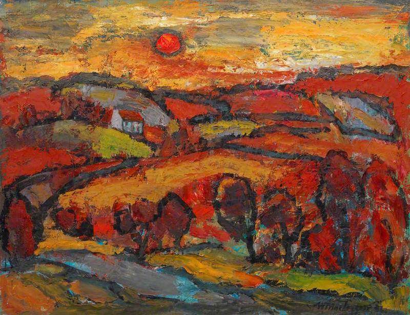 Winter Sunset, the Red Soil