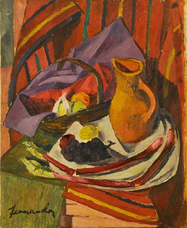 Untitled Still Life (Jug, Basket and Fruit)