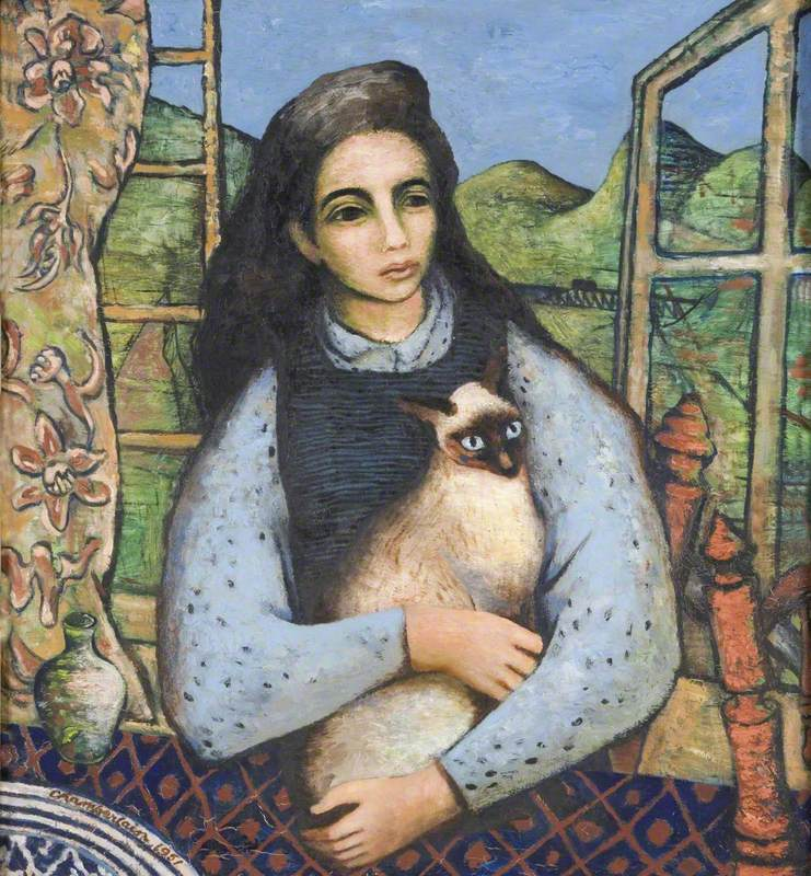 Girl with a Siamese Cat