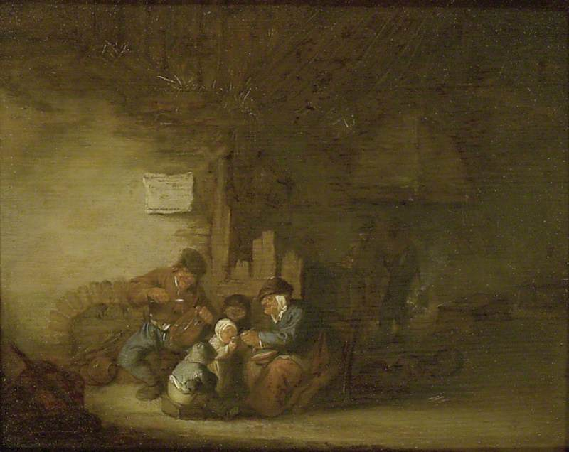 A Peasant Family eating in an Interior