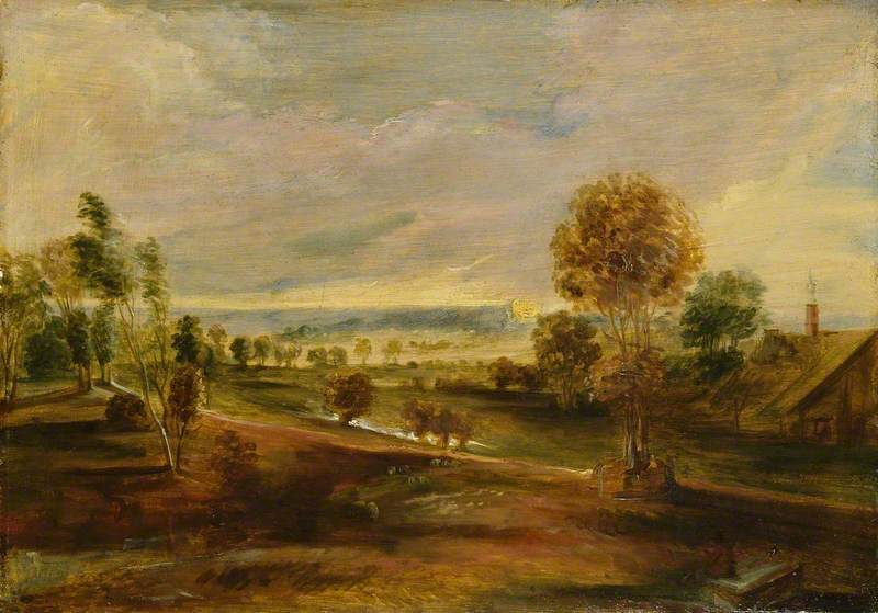 Landscape with Farm Buildings at Sunset