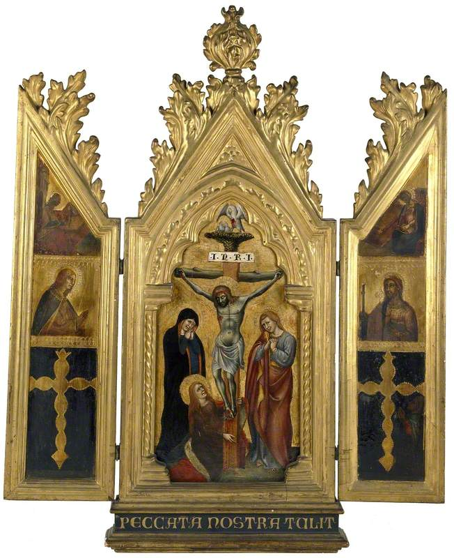 The Crucifixion (centre); The Angel Gabriel and a Saint (left); The Virgin and St James (right)
