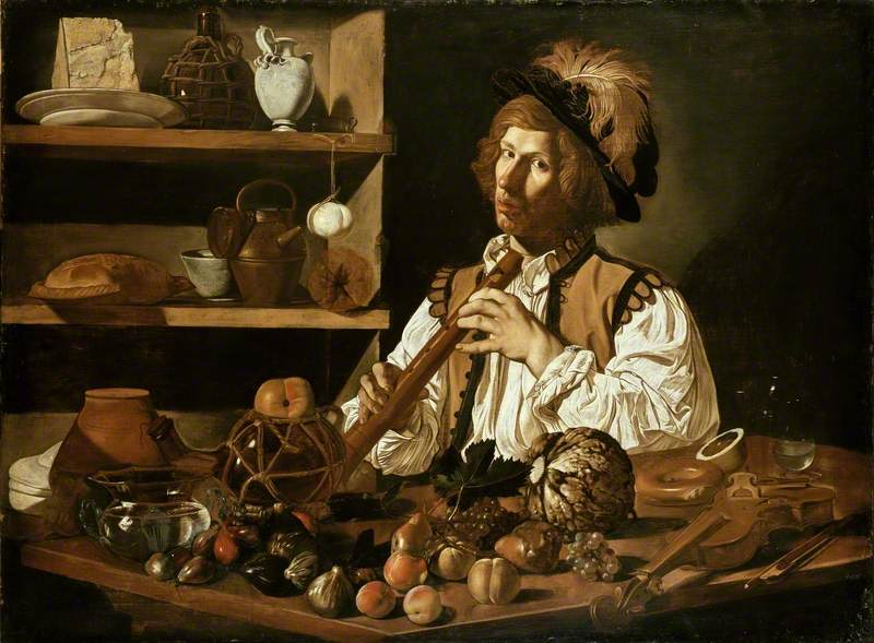 Interior with a young Man holding a Recorder