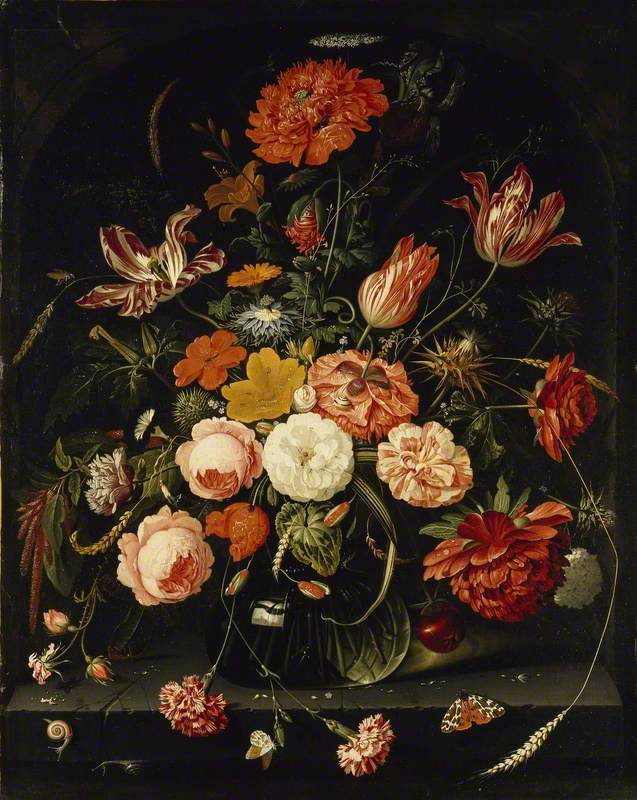 A Vase of Flowers with two Carnations
