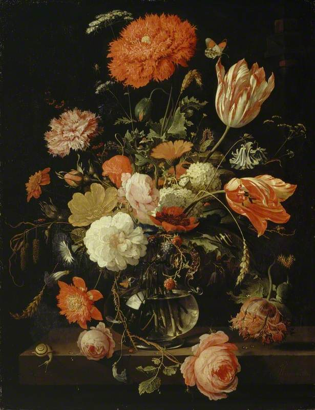 A Carafe of Flowers with Blackberries