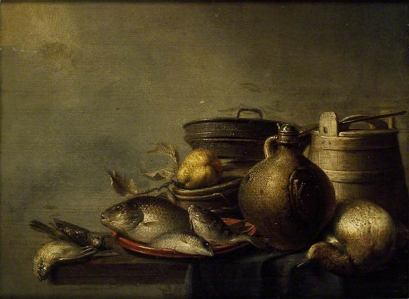 Still Life of Fish, a Pear, Game and Kitchen Utensils