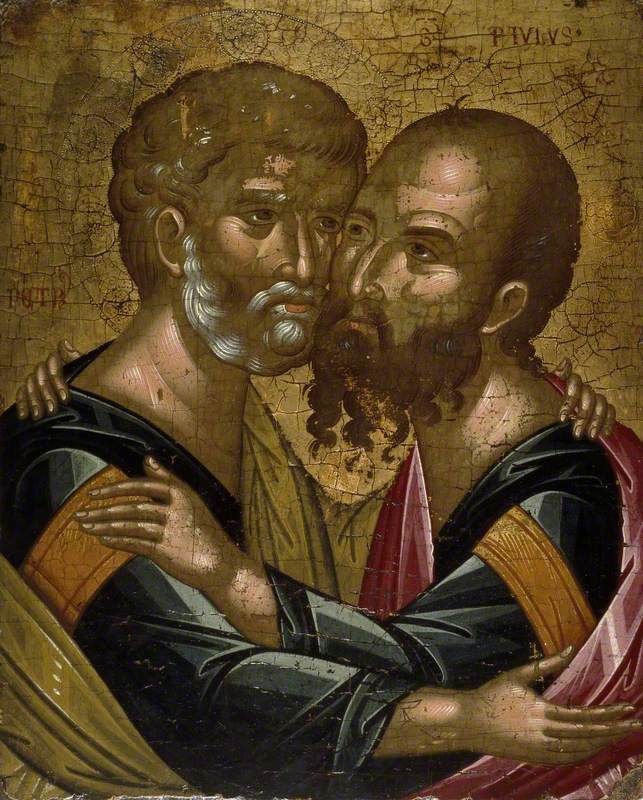 Icon of The Embrace of the Apostles Peter and Paul
