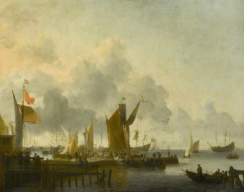 A Dutch Harbour with Numerous Figures, a Man of War Firing a Salute beyond