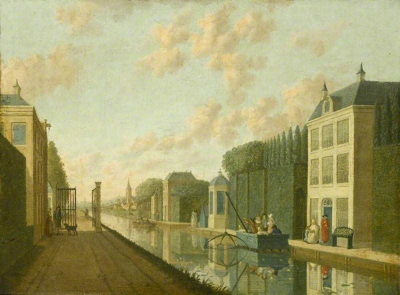 A Canal in a Dutch Town with Figures Fishing
