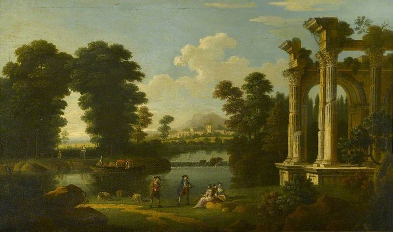 Landscape with Elegant Figures and a Barge