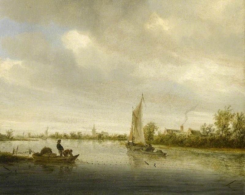 River Landscape with Sailing Boats Passing Cottages