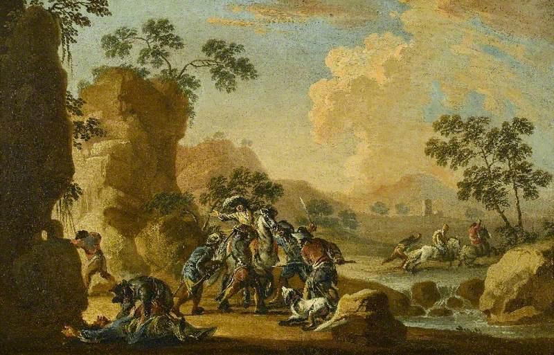 Brigands Ambushing Riders in a River Landscape