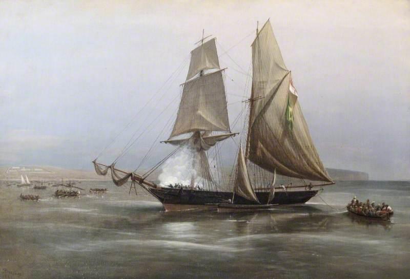 HM Brig 'Philomel' Capturing the Slaver, 'Condor', off the Coast of West Africa, 1880 (Midshipman Commanding, Ralph P. Cator)