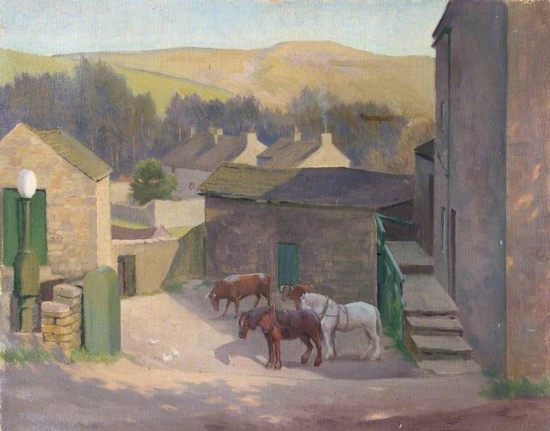 Working Horses, Cows and Chickens in a Farmyard