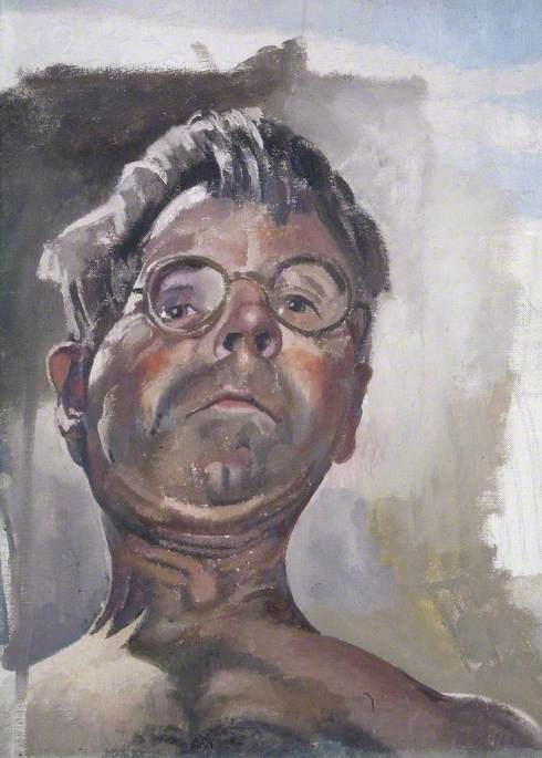 Self Portrait by Gaslight Looking Downwards