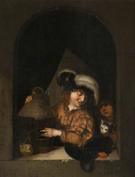 Man with a Cat and a Birdcage, within an Arch