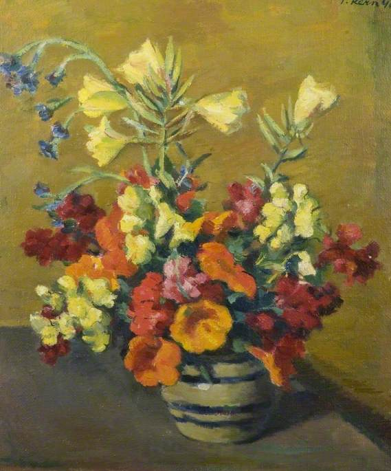 Still Life, Flowers Arranged in a Blue Striped Vase*