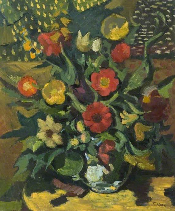 Still Life, Yellow and Red Flowers Arranged in a Vase*