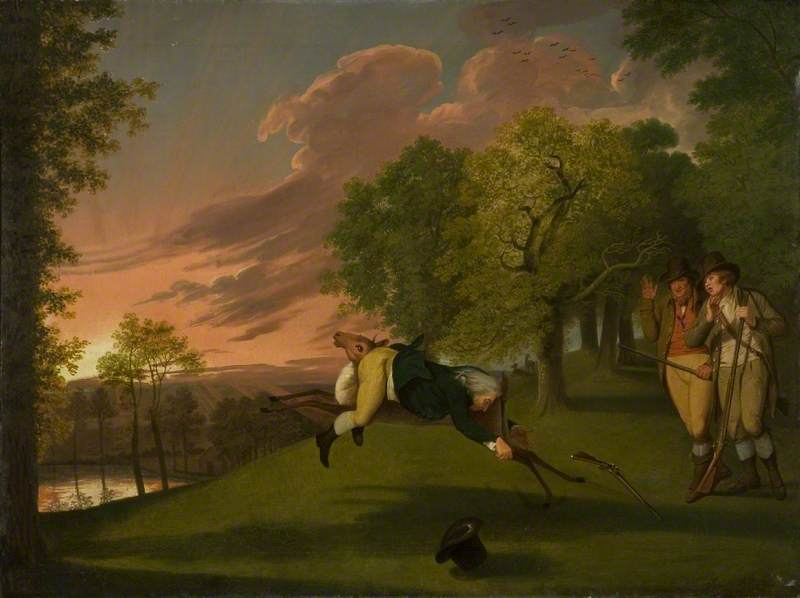 Robert Andrew, Earl of Harlestone, Wrestling with a Stag whilst Two Gentlemen Watch from the Sidelines