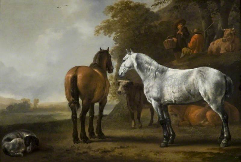 Horses and Cattle in a Landscape