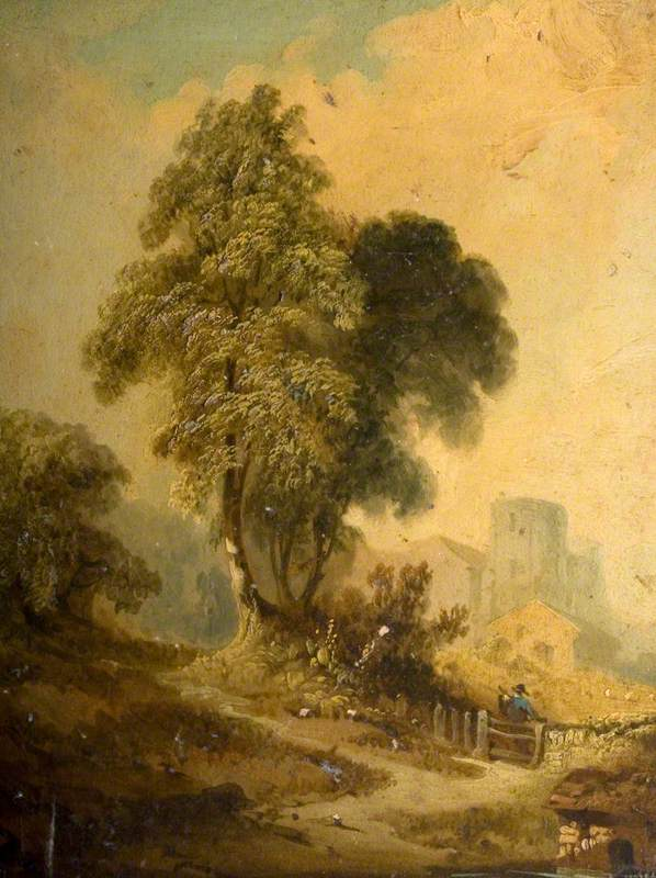 Rural Scene with Buildings and Trees