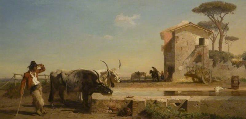 Cattle at a Drinking Place in the Campagna, Rome
